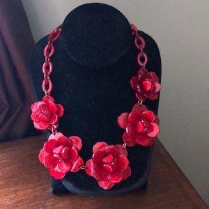 Red, Flower Statement Necklace